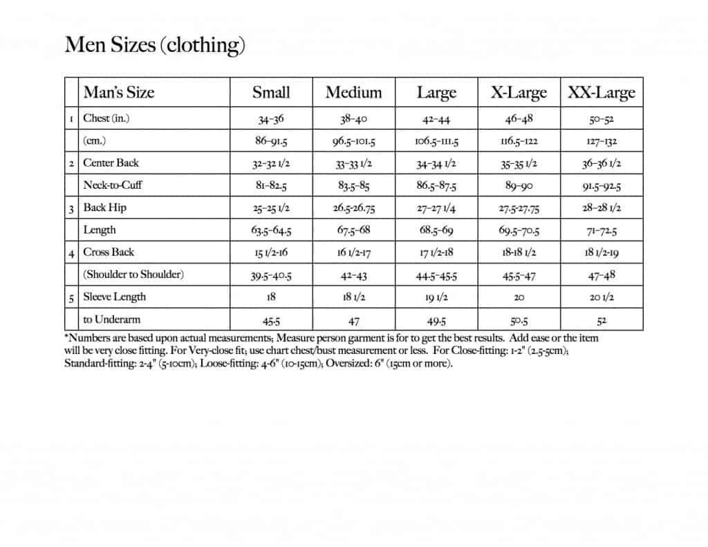 Men Sizes chart