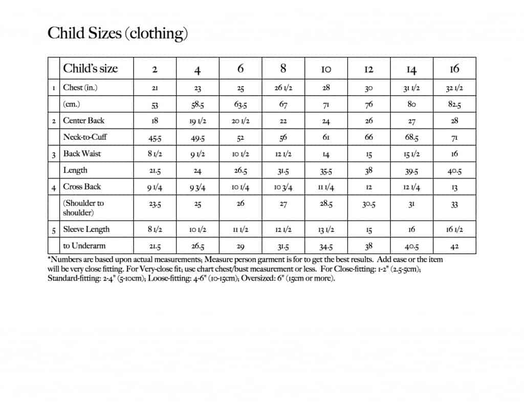Child Sizes Chart by Kristen Mangus at GoodKnit Kisses
